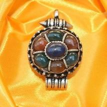 Large Thick Tibetan Pumpkin Lapis Agate 7 Big Gemstone Ghau Prayer Box P... - $17.77