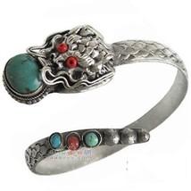 Vintage Tibetan Turquoise Red Coral Gemstone Carved Dragon Amulet Cuff Bracelet - $18.76