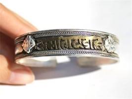 Big Tibetan Carved Golden Mantra OM Mani Padme Hum Dorje Amulet Cuff Bracelet - $8.05