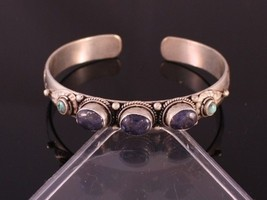 Tibetan Turquoise Lapis 5 Gemstone Carved Dorje Dotted Amulet Cuff Bracelet - $14.21