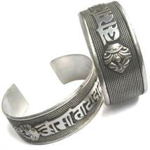 Huge Tibetan Bodhi Weaving Carved OM Mani 2 Big Dorje Amulet Cuff Bracelet - $11.47