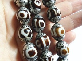 Wholesale 10 Comparatively Big Sterling Silver Repousse 3-eye Dzi Amulet... - $17.95