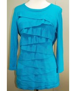 Vince Camuto 3/4 Sleeve Sweater Knit Top Size Large - Ruffle Layer Zig Zag - $39.10