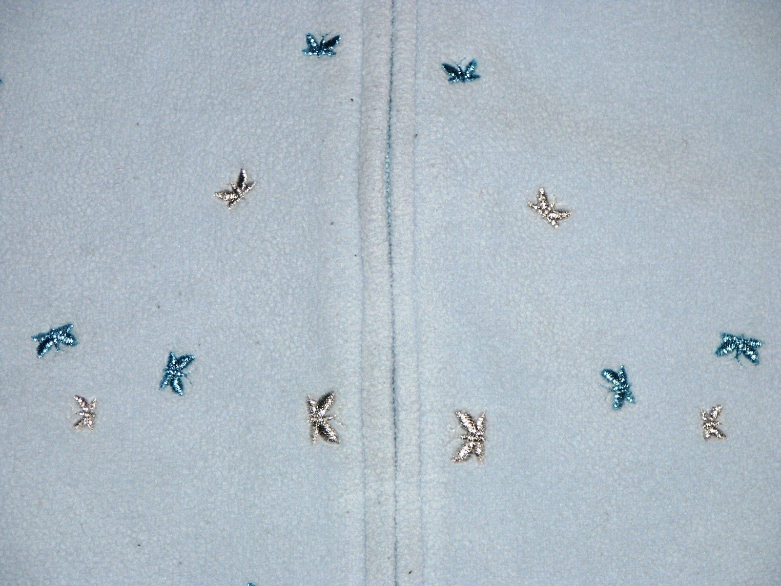 GAP Blue Plush Velour Sparkly Butterfly Embroidered Zip Vest Girls Size M image 3
