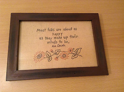 Stitchery Lincoln Quote People are as Happy as they make up their minds to be