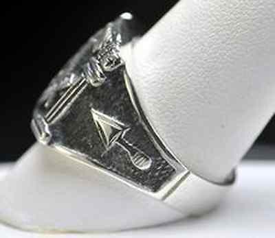 Authentic STERLING SILVER .925 Garnet MASONIC RING Freemason Jewelry freemasonry