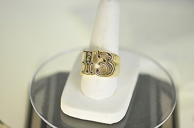 Heavy Lucky Number # 13 Thirteen Gold pltd OVR real sterling silver ring Jewelry