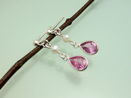 Classic 925 Silver Pink Drop Earrings Featured With Pearl & Faceted CZ,C... - $16.00