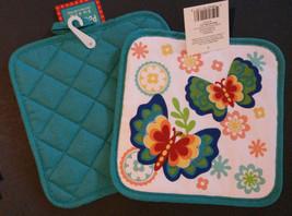 Butterfly Kitchen Set 4pc Towels Potholders Flowers Rainbow Butterflies NEW image 3