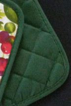 FRUIT theme POTHOLDERS Set of 2 Apple Pear Cherry Green Red Kitchen NEW image 3