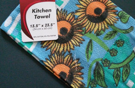 Set of 3 Sunflower Kitchen Tea Towels, Flowers on Blue Green Check, Fringed image 3