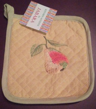 OVEN MITT POTHOLDER SET 2-pc with Embroidered Pear Fruit Yellow Green image 2