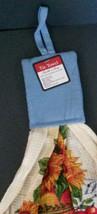 Sunflower Hanging Kitchen Tea Towel Potholder Flowers Apples in Bowl NEW image 3