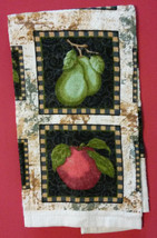 APPLE PEAR KITCHEN SET 4-pc Towels Pot Holders Fruit Apples Pears Green Red NEW image 3