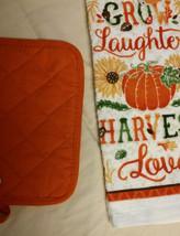 AUTUMN theme KITCHEN SET 2-piece Towel Potholder Grow Laughter Harvest Love NEW image 4