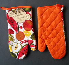 SUMMER FRUIT theme OVEN MITTS Set of 2 Red Orange trim NEW image 3