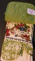 BERRY FRUIT KITCHEN SET 7pc Towels Potholders Oven Mitt Cloths Berries Green NEW image 4
