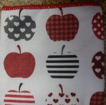 MICROFIBER KITCHEN TOWEL Red Apple Hearts Dish Cloth Fruit NEW image 3