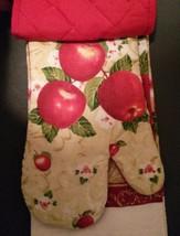 APPLE KITCHEN SET 3-pc Towel Potholder Mitt Red Country Fruit Flowers NEW image 3