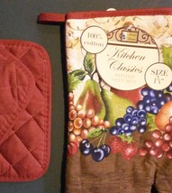 FRUIT theme OVEN MITT POTHOLDERS 3-pc Set Brown Red Grapes NEW image 5