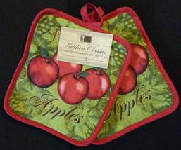 APPLE OVEN MITT POTHOLDERS 3pc Set Red Fresh Apples Fruit Green Kitchen Linen image 3