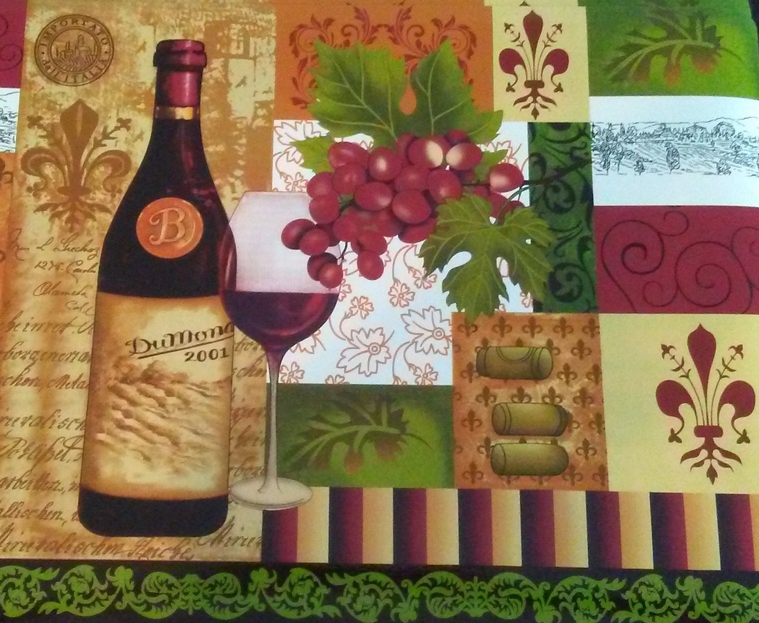 WINE theme PLACEMATS Set of 4 Fleur de Lis Tuscan decor Bottle Grapes Vinyl NEW