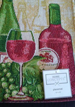 WINE TAPESTRY PLACEMATS Set of 4 Red White Wine Bottles Grapes Fabric 13x19 NEW image 4