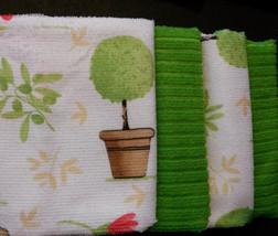 Flowers design KITCHEN TOWEL SET 4-piece Mediterranean Garden Red Green NEW image 2