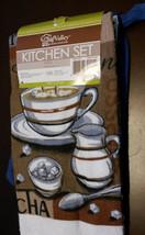 COFFEE KITCHEN SET 5-pc Towel Potholder Oven Mitt Cloths Brown Blue Cafe Mocha image 2
