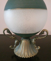 GLASS CANDLE HOLDER Frosted Sphere Green with Brass Metal Base image 4