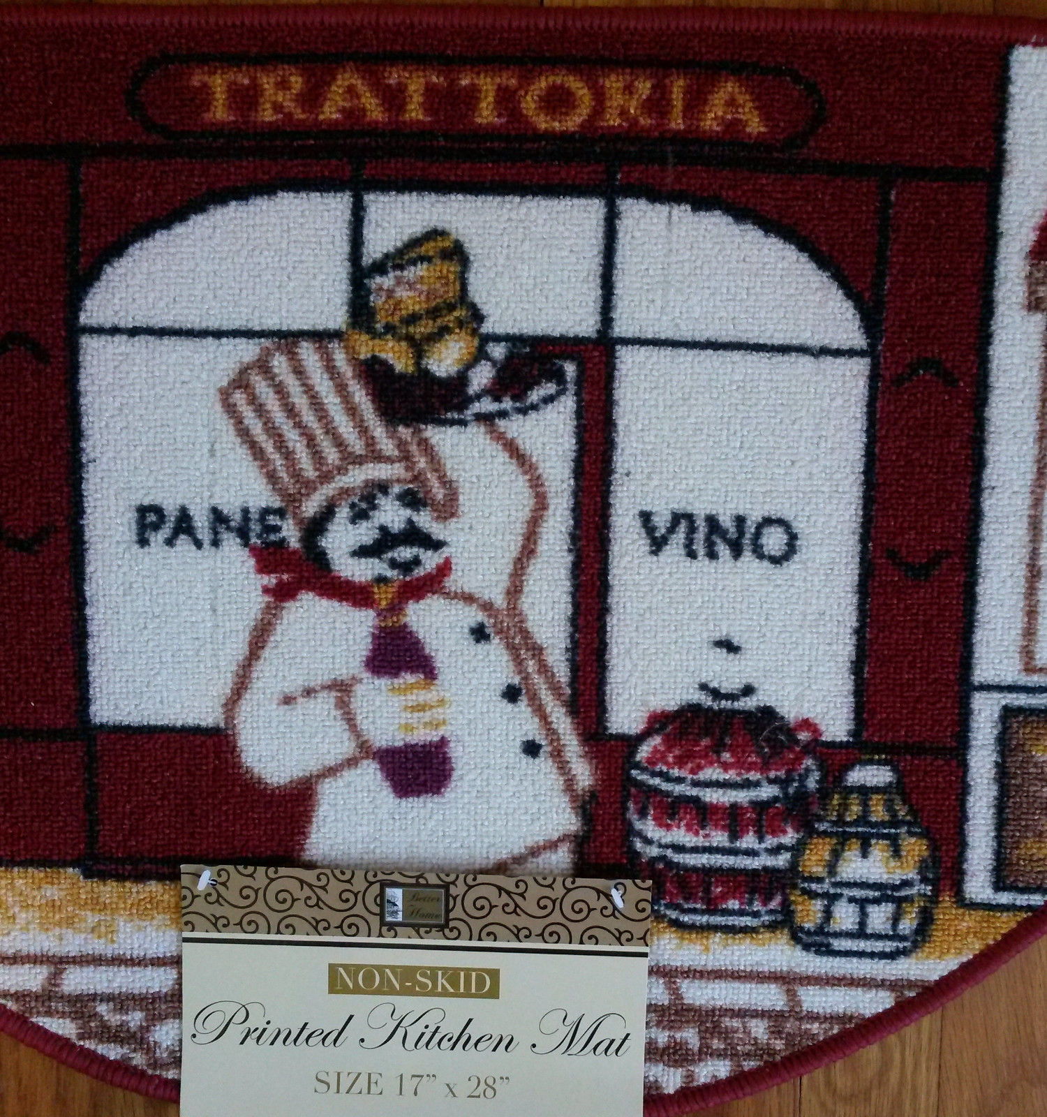 FAT CHEF KITCHEN RUG Pane Vino Italian Wine Decor Floor Slice Door Mat Red NEW