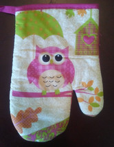 Owl Oven Mitt and Potholder 2-pc Set Pink Bird Umbrella Heart Birdhouse NEW image 4