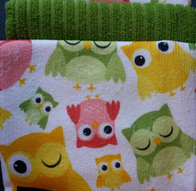 OWL theme KITCHEN LINENS SET 3-pc Drying Mat Towel Cloth Spring Green Owls NEW image 3