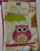 OWL OVEN MITT SET 2-pc Pink Bird with Umbrella NEW image 3
