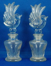 Pair Miniature PERFUME BOTTLES with BIRD STOPPERS - $29.99