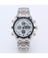 Business Men Dual Cores Steel Band Waterproof Day Date Display Alarm LED... - $19.02