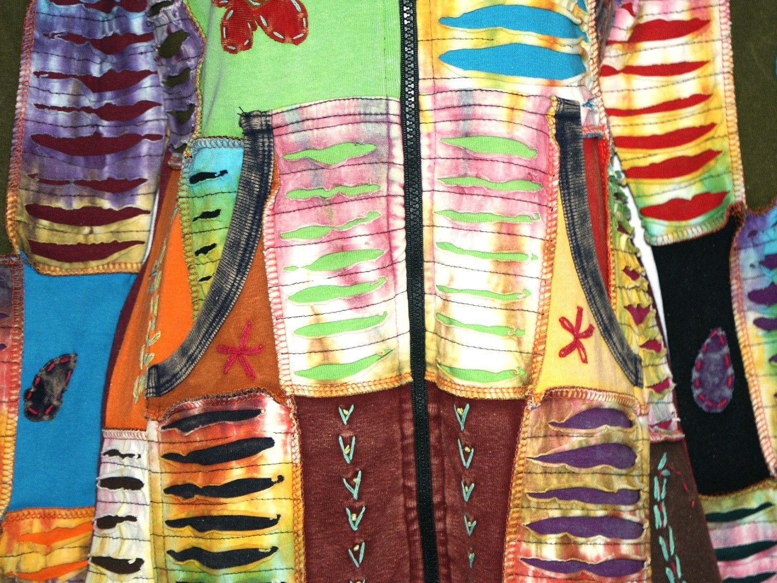 LUMBINI IMPORTS Womens Long Hoodie Jacket Patchwork Hippie Boho Handmade Nepal
