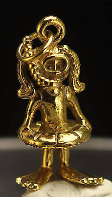 24kt Gold plated GIRL SNORKELING 3D CHARM Swimming Swim