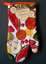 SUMMER FRUIT theme OVEN MITTS Set of 2 Red Orange trim NEW image 2