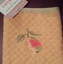 OVEN MITT POTHOLDER SET 2-pc with Embroidered Pear Fruit Yellow Green image 5