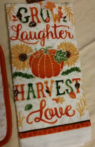 AUTUMN theme KITCHEN SET 2-piece Towel Potholder Grow Laughter Harvest Love NEW image 3