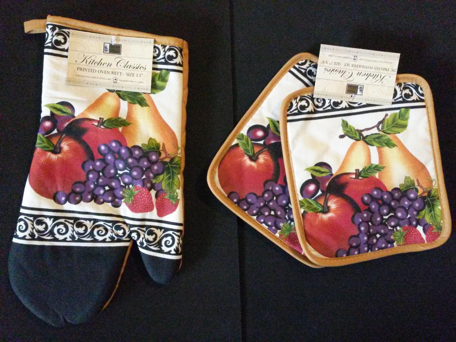 GRAPES /& PEARS 2 pc Printed Kitchen Set FRUITS 1 Pot Holder /& 1 Oven Mitt