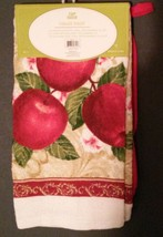 APPLE KITCHEN SET 3-pc Towel Potholder Mitt Red Country Fruit Flowers NEW image 4