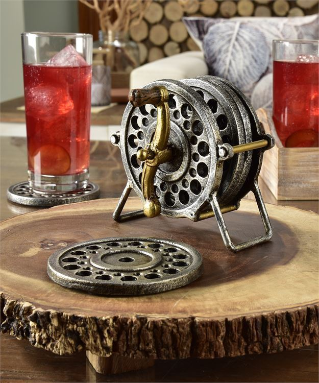 Rustic Cast Iron Fly Wheel Design Coaster Set w 4 Cut Out Iron Coasters & Holder