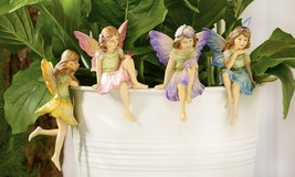 Set of 4 Fairy Pot Huggers - Multi Colored Polystone