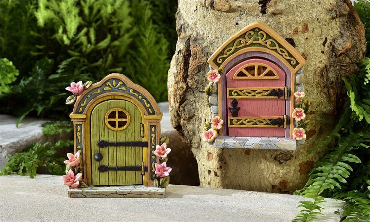 Set of 2 Fairy Pixie Door Design Figurines w Cobblestone and Floral Detailing