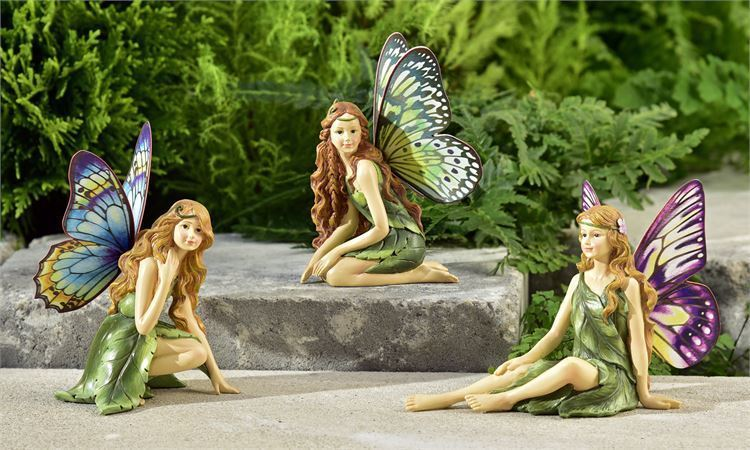 Set of 3 - Fairy Figurines with Butterfly Design Wings Painted Polyresin