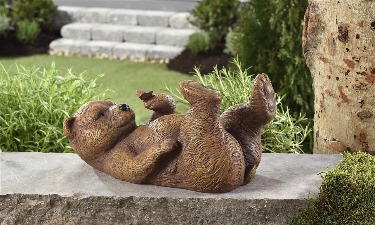 "12"" Laying Brown Bear Holding Butterfly Figurine Polyresin Garden Decor"