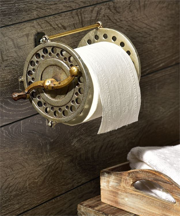 Rustic Antiqued Brass Fly Wheel Design Toilet Tissue Wall Mount Holder