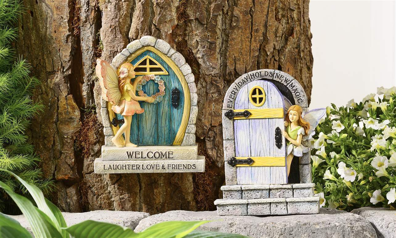 Set of 2 Fairy Pixie Door Design Figurines w Whimsical Fairy Figurines Grey Blue